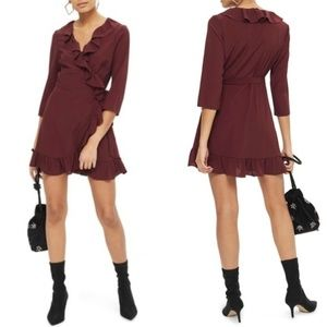 Topshop maroon ruffle wrap mini dress
